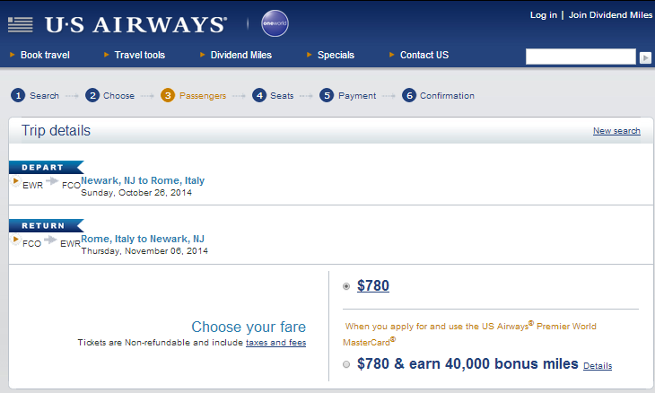 US Airways Booking Page: NYC to Rome