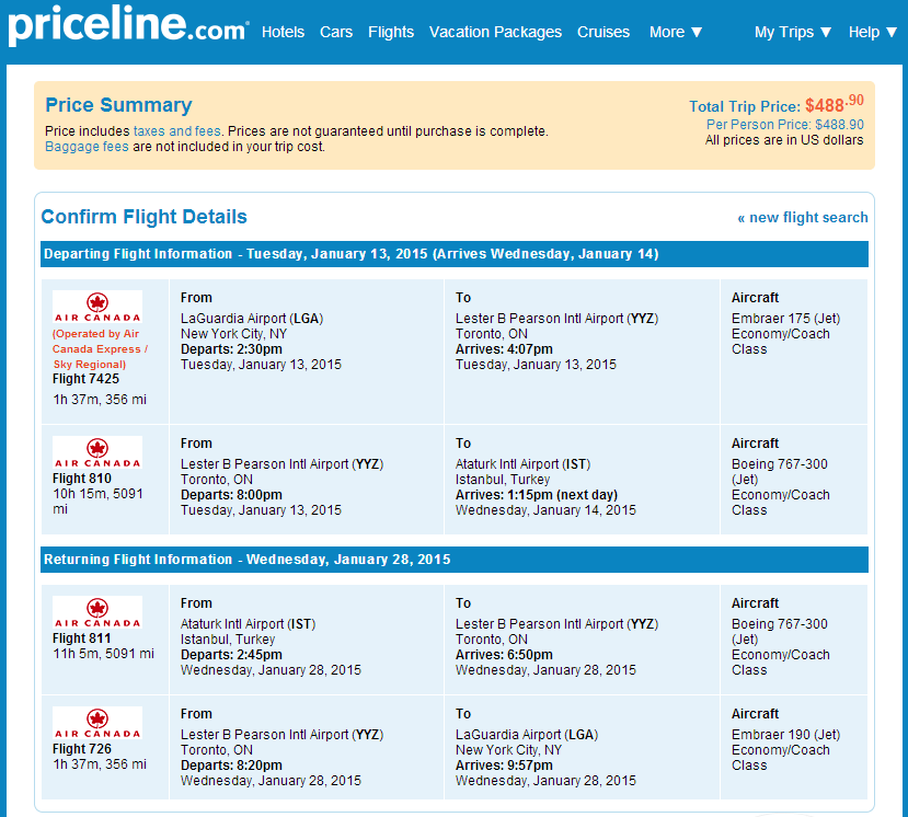 Priceline Booking Page: NYC to IStanbul