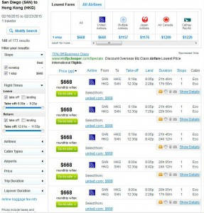 San Diego-Hong Kong: Fly.com Search Results
