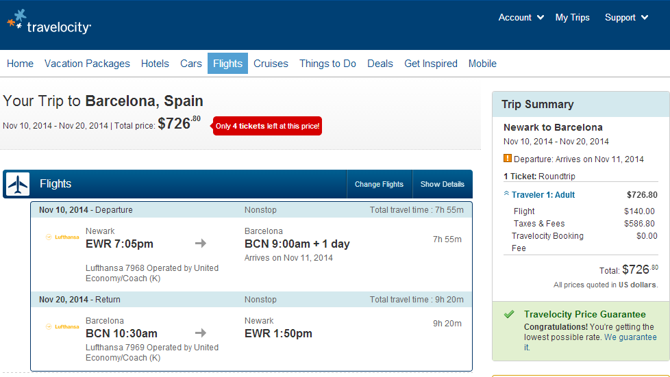 Travelocity Booking Page: NYC to Barcelona