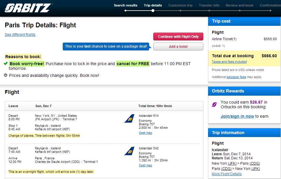 Orbitz Booking Page: NYC to Paris