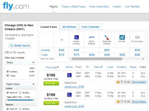 $166 -- Chicago to New Orleans: Fly.com Results