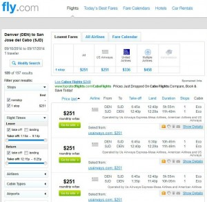 Denver-Los Cabos: Fly.com Search Results