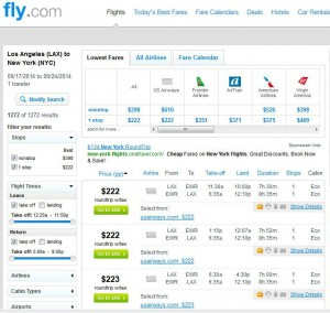Los Angeles-Newark: Fly.com Search Results