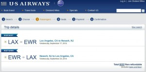 Los Angeles-Newark: US Booking Page