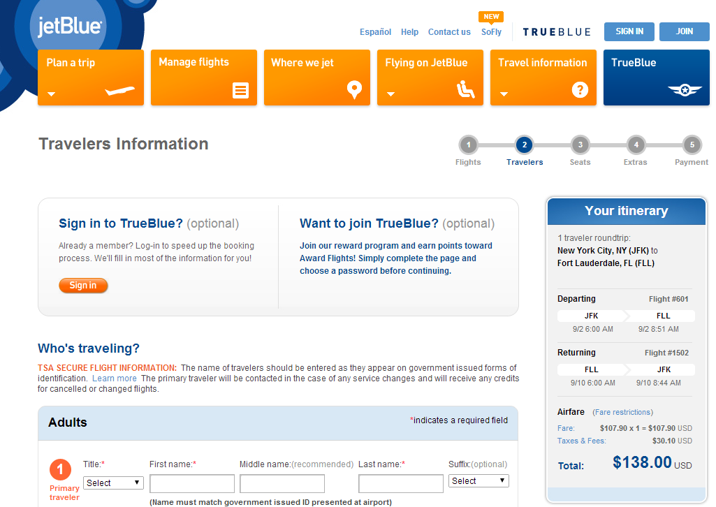 JetBlue Booking Page: NYC to Fort Lauderdale