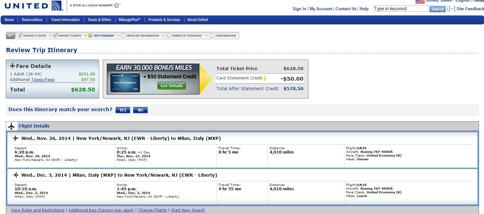 United Booking Page: NYC to Milan