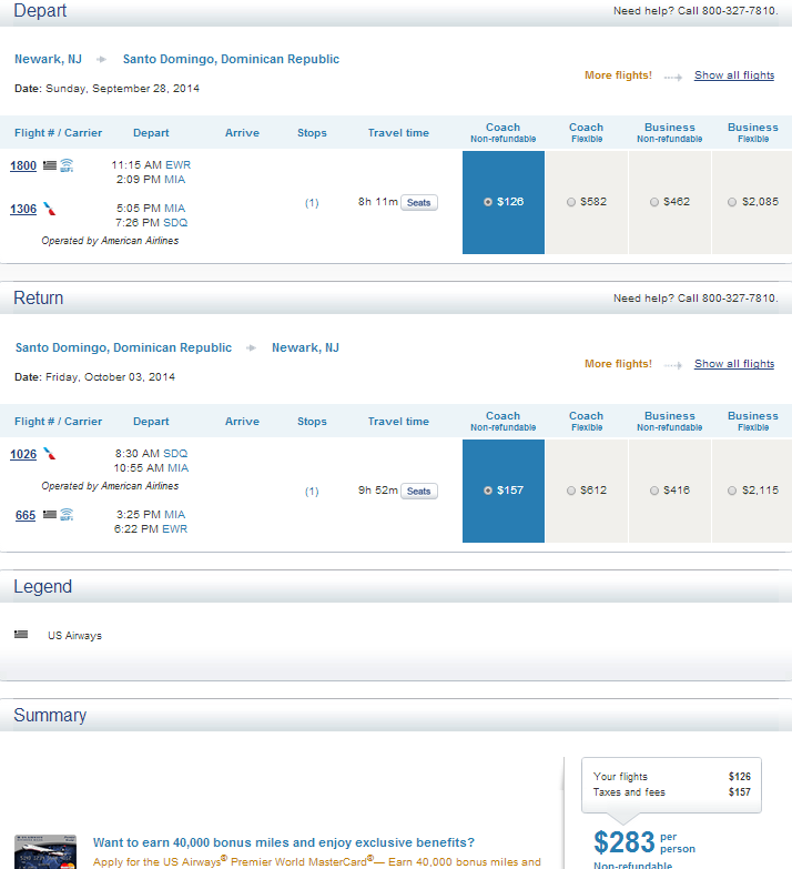 US Airways Results Page: NYC to Santo Domingo