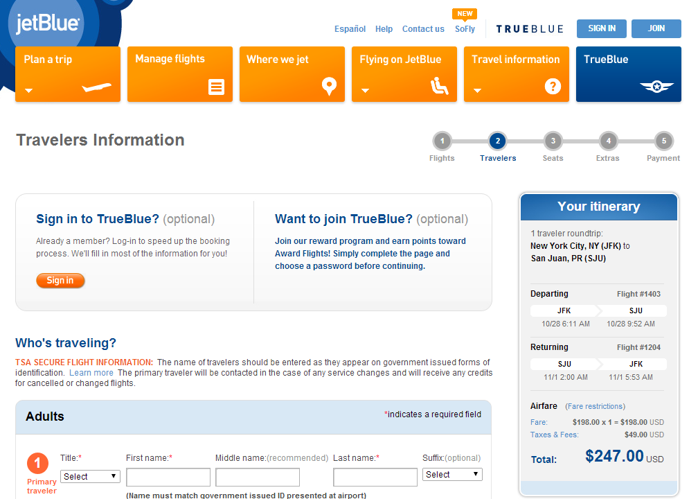 Jetblue Booking Page: NYC to San Juan