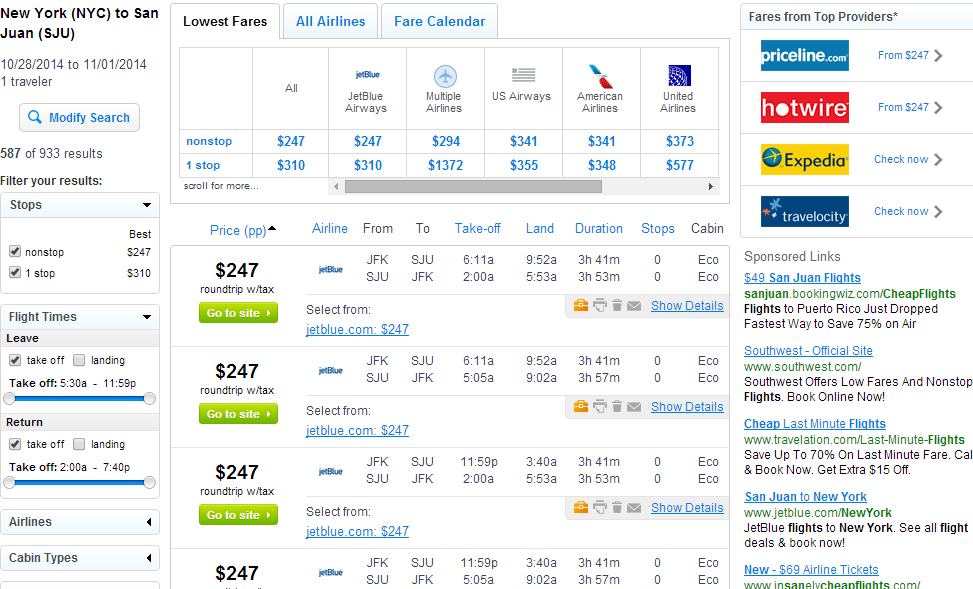 Fly.com Results Page: NYC to San Juan
