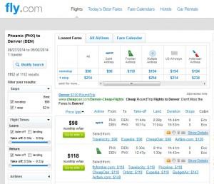 $106 -- Phoenix to Denver: Fly.com Results