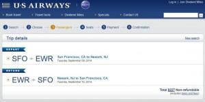 San Francisco-Newark: US Booking Page