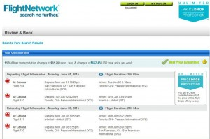 San Francisco-Istanbul: Flight Network Booking Page