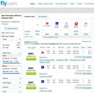 San Francisco-Istanbul: Fly.com Search Results