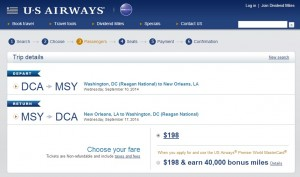 $198 -- Washington D.C. to New Orleans: US Air Booking Page