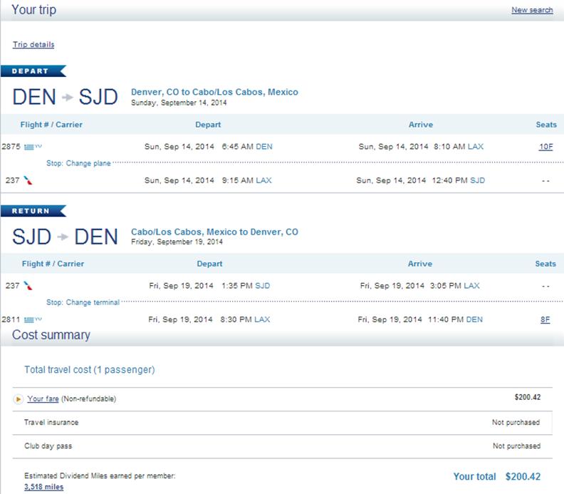US Airways Booking Page: Denver to Los Cabos