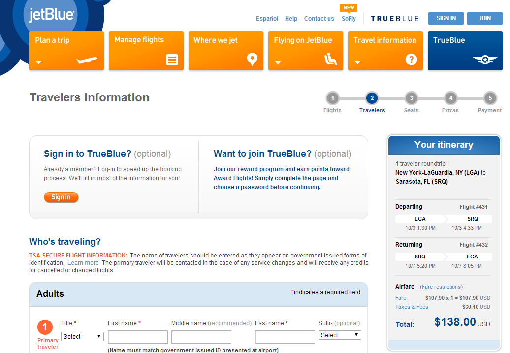 JetBlue Booking Page: NYC to Sarasota