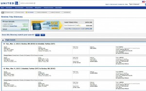Boston-Istanbul: United Booking Page