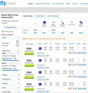 Boston-New Orleans: Fly.com Search Results