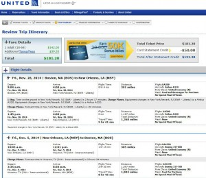 Boston-New Orleans: United Booking Page