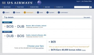$476 -- Boston to Dublin: US Airways Booking Page
