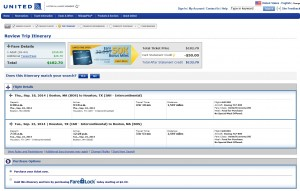 $183 -- Boston to Houston: United Booking Page