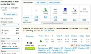 Denver-Fort Lauderdale: Fly.com Search Results