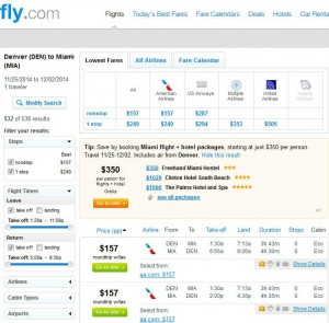 Denver-Miami: Fly.com Search Results