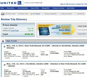 Newark-Stockholm: United Booking Page
