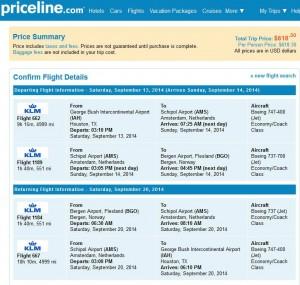 Houston-Bergen: Priceline Booking Page