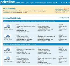 Houston-Oslo: Priceline Booking Page