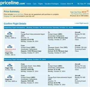 Houston-Stavanger: Priceline Booking Page