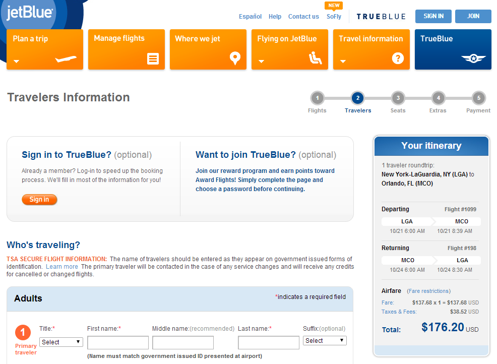 Jetblue Booking Page: NYC to Orlando