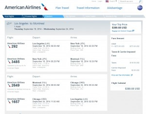 $390 -- Los Angeles to Montreal: American Airlines Booking Page