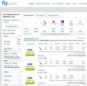 $390 -- Los Angeles to Montreal: Fly.com Search Results