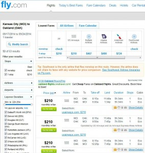 Kansas City-Oakland: Fly.com Search Results
