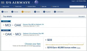 Kansas City-Oakland: US Airways Booking Page