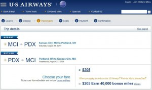 Kansas City-Portland: US Airways Booking Page