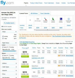 Kansas City-San Diego: Fly.com Search Results