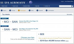 Kansas City-San Diego: US Airways Booking Page