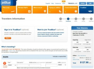 New York City-Charleston, SC: JetBlue Booking Page