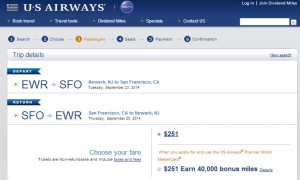 New York City-San Francisco: US Airways Booking Page