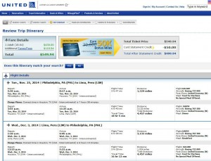Philadelphia-Lima: United Booking Page