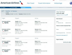 Seattle-Nassau: American Booking Page