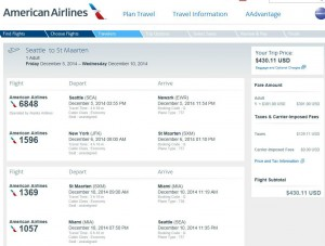Seattle-St. Martin: American Booking Page