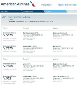 San Francisco-Lima: American Booking Page