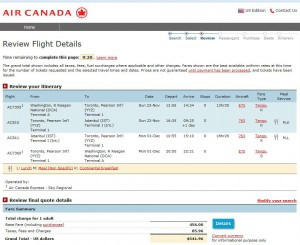 Washington, D.C.-Istanbul: Air Canada Booking Page