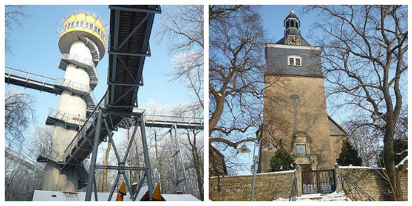 (l) Canopy walk and tower at Hainich National Park; (r) Typical Thuringian village church (Godfrey Hall)