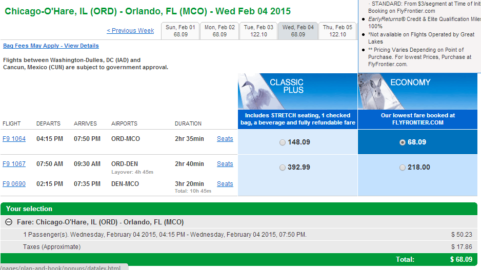 Frontier Results Page: Chicago to Orlando