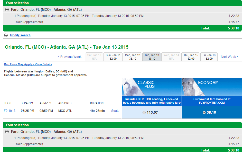 Frontier Results Page: Orlando to Atlanta